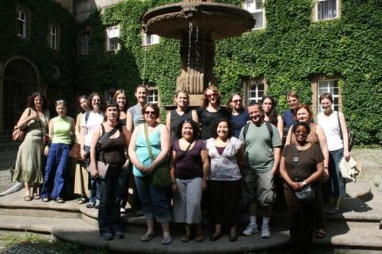 Group in the National Library's Courtyard