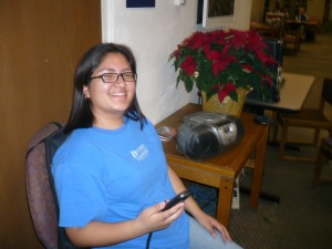 A student enjoys the massage chair